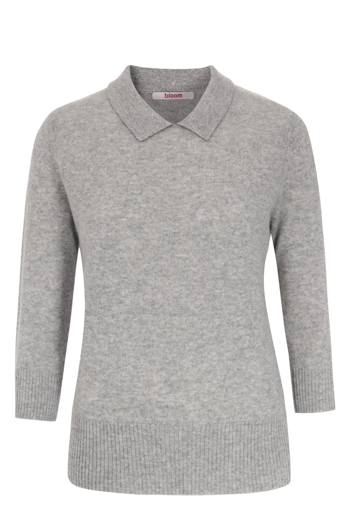 pullover aus cashmere mit hemdkragen grey melange von. Black Bedroom Furniture Sets. Home Design Ideas