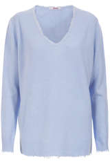Cashmere-Pullover mit V-Neck Light Blue