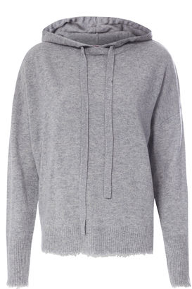 Cashmere-Pullover mit Kapuze Light Grey