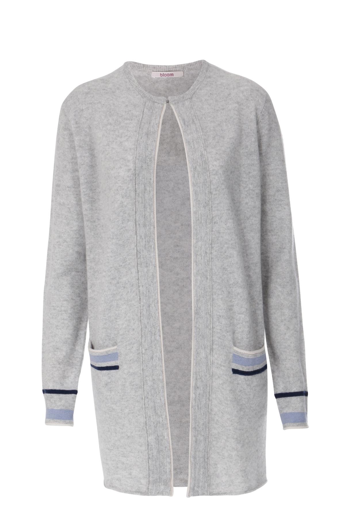 cardigan aus cashmere grey melange von bloom bei cashmere. Black Bedroom Furniture Sets. Home Design Ideas